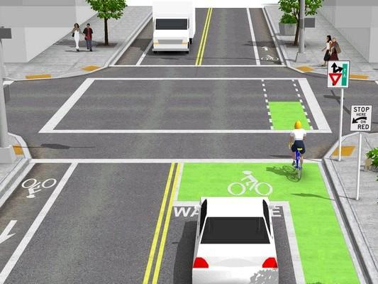 Cyclist road markings