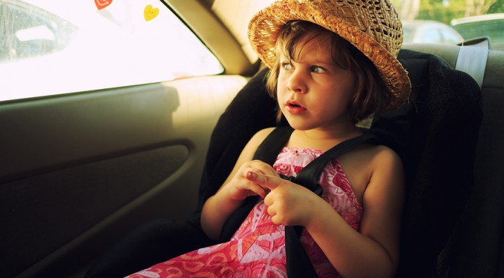 Child left alone in a hot car